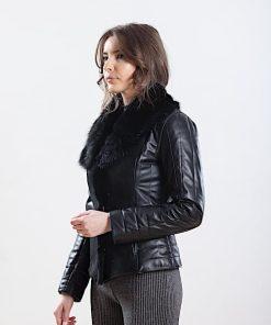 Jacheta din piele si blana naturala de ovine - SP 141