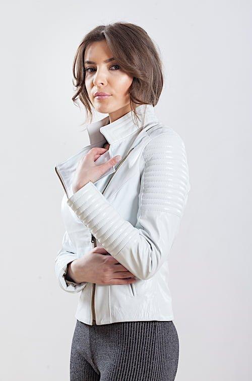 Jacheta alba din piele naturala de ovine - SP 152