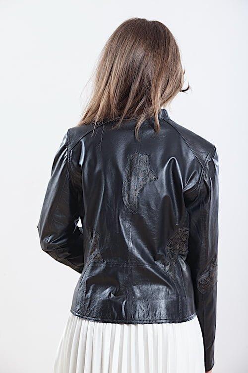 Jacheta cu imprimeuri din piele naturala de ovine - SP 01