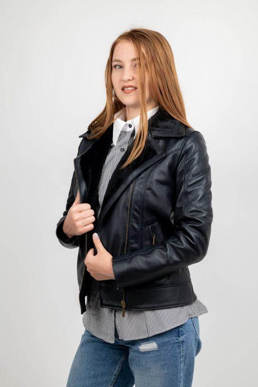Jacheta din piele neagra de ovine - SP 180