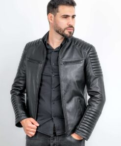 Jacheta din piele naturala stil biker