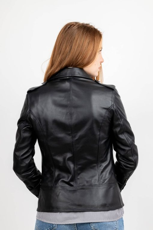 Jacheta din piele neagra de ovine - SP 177